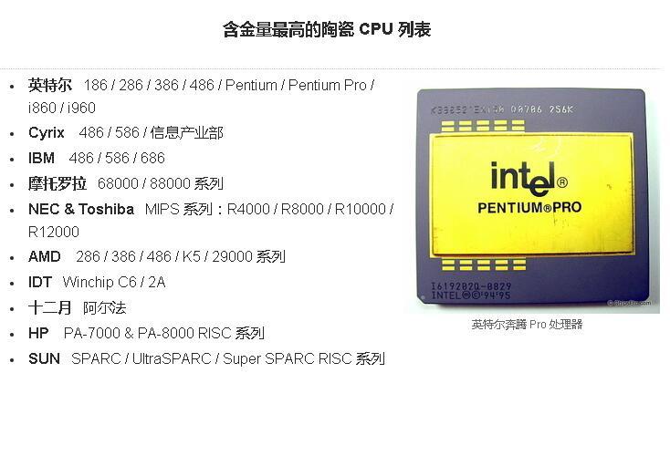 CPU和计算机芯片的黄金价值